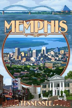 Memphis, Tennessee - Memphis Montage by Lantern Press