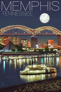 Memphis, Tennessee - Memphis Skyline at Night by Lantern Press