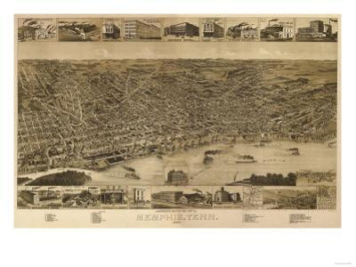 Memphis, Tennessee - Panoramic Map by Lantern Press