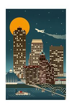 Memphis, Tennessee - Retro Skyline (no text) by Lantern Press