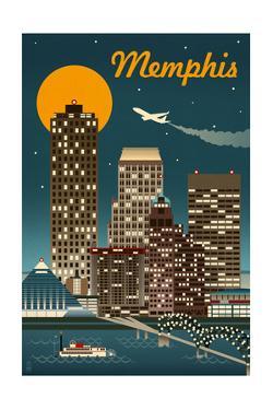 Memphis, Tennessee - Retro Skyline by Lantern Press