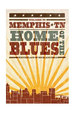 Memphis, Tennessee - Skyline and Sunburst Screenprint Style by Lantern Press