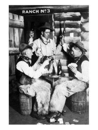 Men Dressed as Cowboys with Bottles of Whiskey, Pistols by Lantern Press