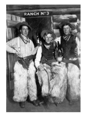 Men Dressed as Cowboys with Bottles of Whiskey by Lantern Press