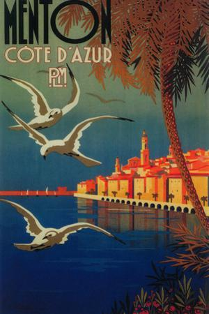 Menton, France - French Riviera Travel Poster No. 1 by Lantern Press