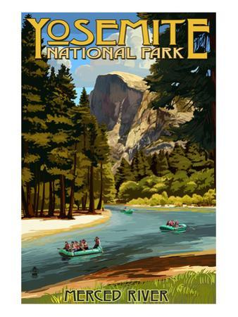Merced River Rafting - Yosemite National Park, California by Lantern Press
