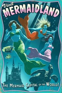 Mermaid - Vintage Sign by Lantern Press