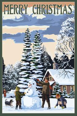Merry Christman - Snowman Scene by Lantern Press