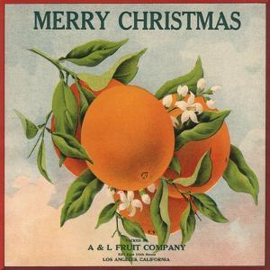 Merry Christmas Orange Branch - Los Angeles, California - Citrus Crate Label by Lantern Press