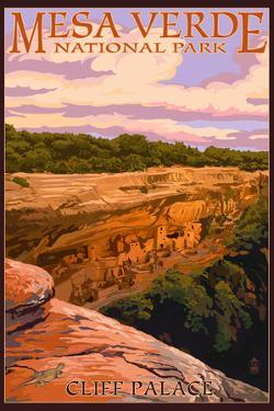 Mesa Verde National Park, Colorado - Cliff Palace at Sunset by Lantern Press