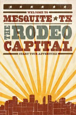 Mesquite, Texas - Skyline and Sunburst Screenprint Style by Lantern Press