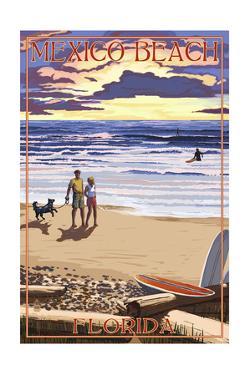 Mexico Beach, Florida - Beach Scene and Surfers by Lantern Press