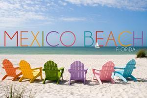Mexico Beach, Florida - Colorful Beach Chairs by Lantern Press