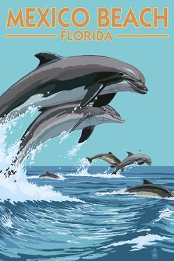 Mexico Beach, Florida - Dolphins Jumping by Lantern Press
