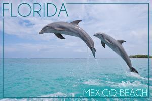 Mexico Beach, Florida - Jumping Dolphins by Lantern Press