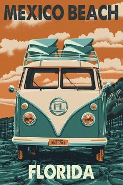 Mexico Beach, Florida - Letterpress by Lantern Press
