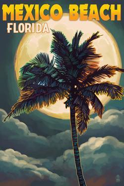 Mexico Beach, Florida - Palm and Moon by Lantern Press