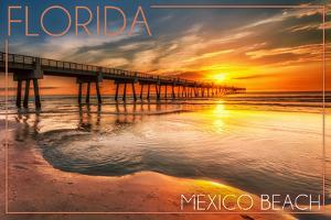 Mexico Beach, Florida - Pier and Sunset by Lantern Press