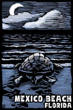 Mexico Beach, Florida - Sea Turtle on Beach - Scratchboard by Lantern Press