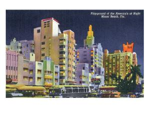 Miami Beach, Florida - City Scene at Night by Lantern Press