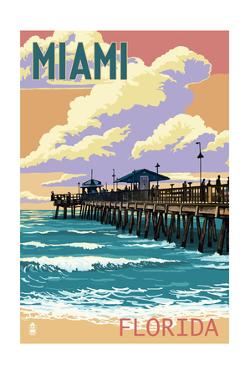 Miami, Florida - Fishing Pier and Sunset by Lantern Press