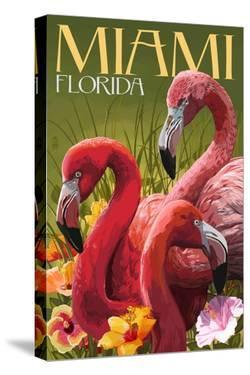 Miami, Florida - Flamingos by Lantern Press