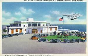 Miami, Florida - Pan-American Airways Terminal, Clipper Arriving from Jamaica by Lantern Press