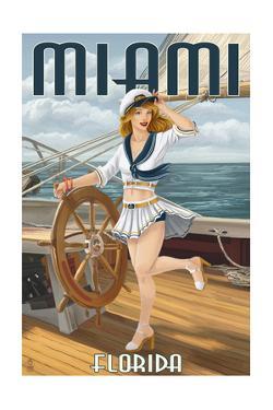 Miami, Florida - Pinup Girl Sailing by Lantern Press
