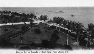 Miami, Florida - Royal Palm Hotel Grounds and Biscayne Bay View by Lantern Press