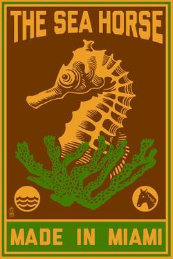 Miami, Florida - Seahorse Woodblock (Red and Green) by Lantern Press