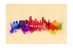 Miami, Florida - Skyline Abstract by Lantern Press