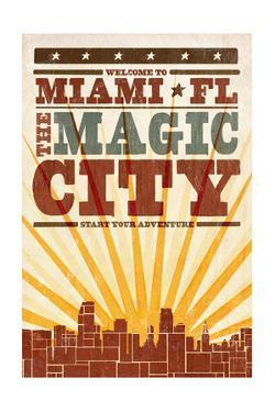 Miami, Florida - Skyline and Sunburst Screenprint Style by Lantern Press