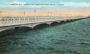 Miami, Florida - Venetian Way Scene Connecting to Miami Beach by Lantern Press