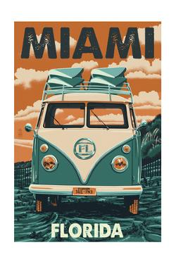 Miami, Florida - VW Van by Lantern Press