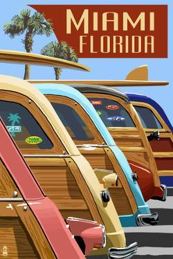 Miami, Florida - Woodies Lined Up by Lantern Press