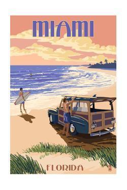 Miami, Florida - Woody on the Beach by Lantern Press