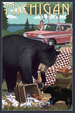 Michigan - Bear and Picnic Scene by Lantern Press