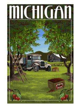 Michigan - Cherry Orchard Harvest by Lantern Press