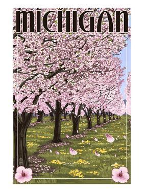 Michigan - Cherry Orchard in Blossom by Lantern Press