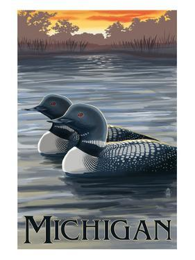 Michigan - Loons Scene by Lantern Press