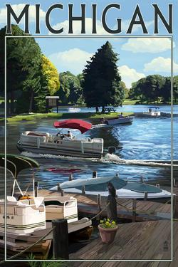 Michigan - Pontoon Boats by Lantern Press