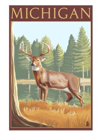 Michigan - White Tailed Deer by Lantern Press