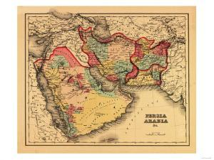 "Middle East ""Persia Arabia"" - Panoramic Map by Lantern Press"