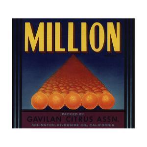 Million Brand - Arlington, California - Citrus Crate Label by Lantern Press