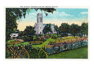Minneapolis, Minnesota - Exterior View of St. Mark's Church from the Armory Gardens
