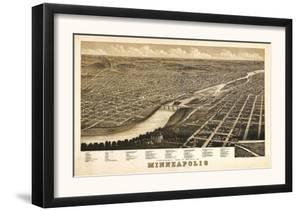 Minneapolis, Minnesota - Panoramic Map by Lantern Press
