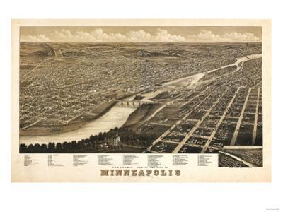 Minneapolis, Minnesota - Panoramic Map by Lantern Press