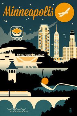 Minneapolis, Minnesota - Retro Skyline by Lantern Press