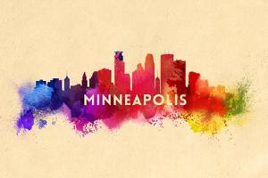 Minneapolis, Minnesota - Skyline Abstract by Lantern Press