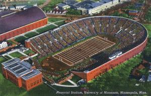Minneapolis, Minnesota - University of Minnesota; Memorial Stadium Aerial by Lantern Press